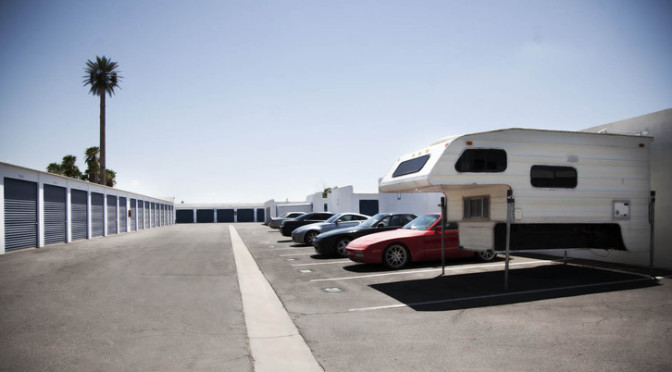 Outdoor area with storage units and a RV and auto parking area