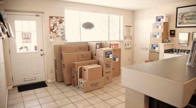 View inside facility office with various moving box sizes
