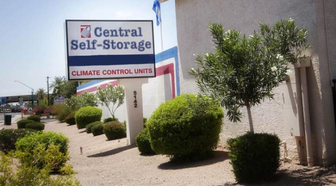 Central Self Storage sign in Glendale, AZ.