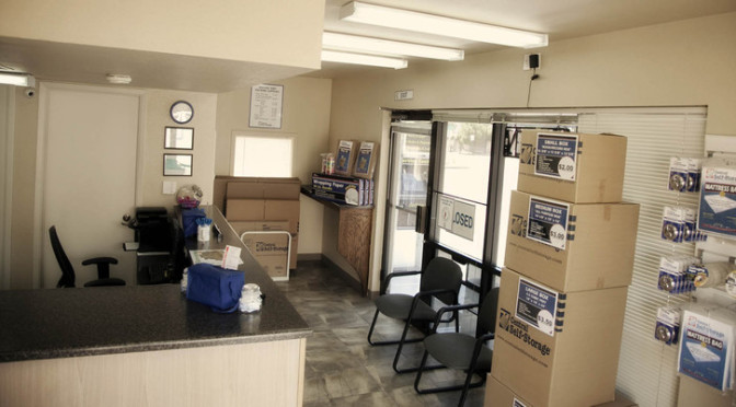 A view inside a Central Self Storage facility office with moving and packing supplies available
