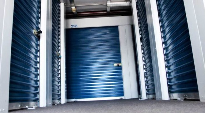 Interior storage units with blue doors