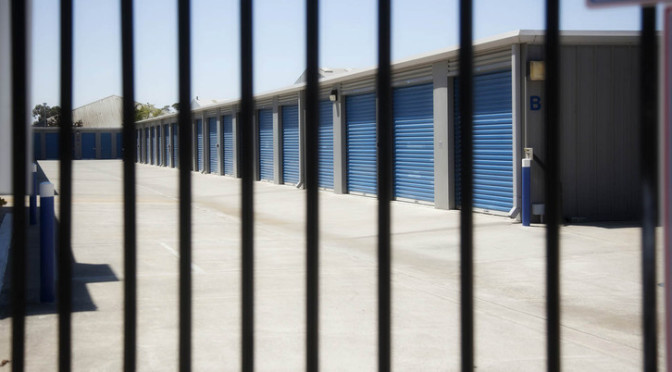 View of outdoor storage units from the gated entrance