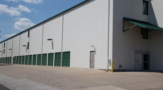 Exterior view of a large facility with drive-up units