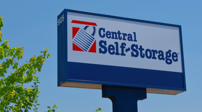 Exterior stand alone facility sign for Central Self Storage