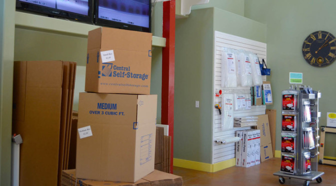 Inside a facility office that has moving boxes for sale and other packing supplies available