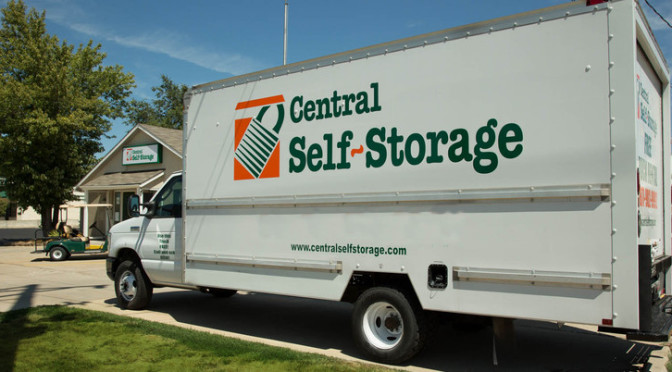 Central Self Storage moving truck parked outside of facility
