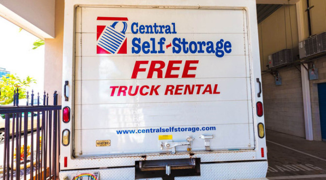 Central Self Storage rental truck with a promotion for free truck rental