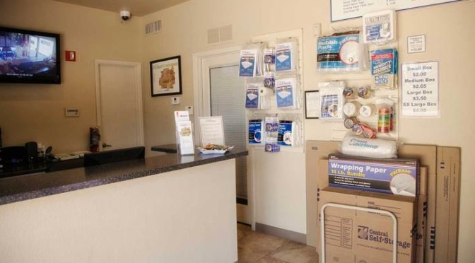 Indoor facility office with packing and moving supplies available