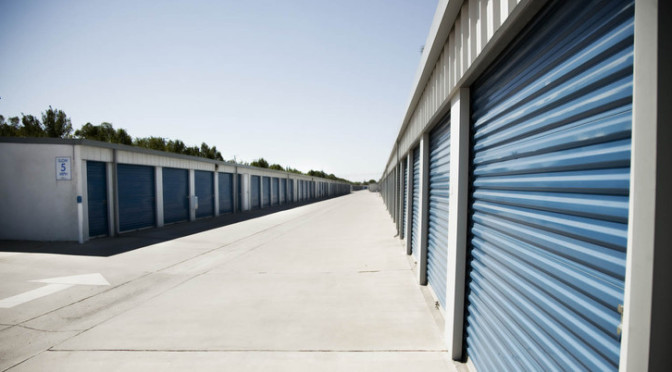Two rows of drive-up access storage units at Central Self Storage in San Merced, CA.