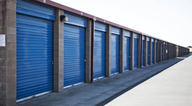 A row of drive-up access storage units at Central Self Storage in Fairfield, CA.