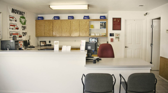 Leasing office at Central Self Storage in Fairfield, CA.