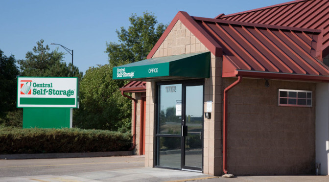 Exterior view of front door entrance to Central Self Storage facility