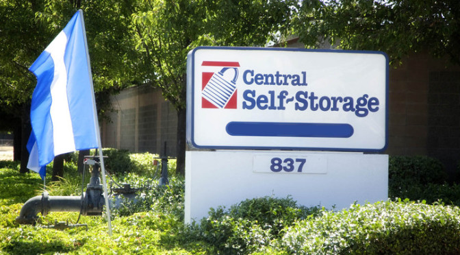 Central Self Storage sign in Fairfield, CA.
