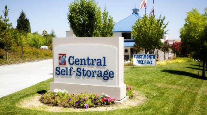 Outdoor signage for a Central Self Storage facility with nice landscaping
