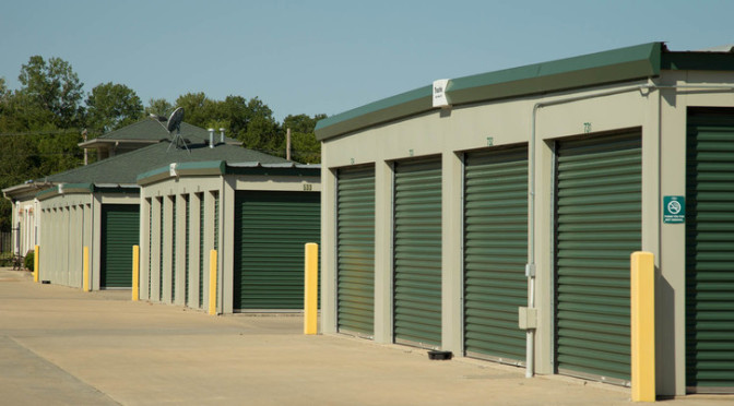 Three rows of outdoor, drive-up access storage units at Central Self Storage in Kansas City, MO.