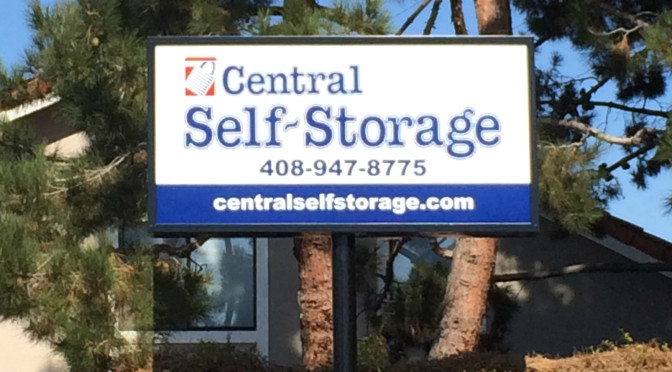 Exterior signage for Central Self Storage outside of a facility