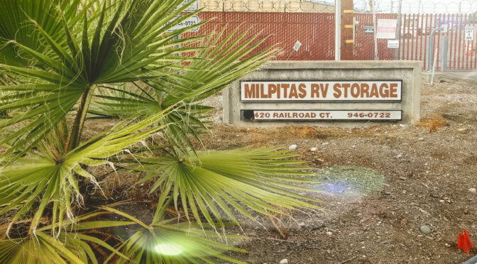 Stand alone outdoor sign for Milpitas RV Storage