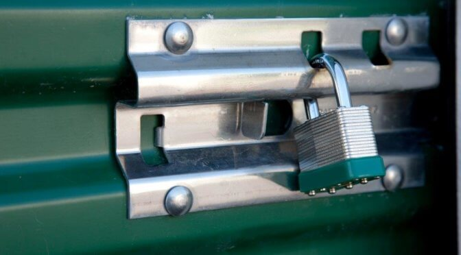 Close-up of a lock on a storage unit.