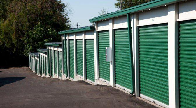 Drive-up access storage units at Central Self Storage in Kansas City, KS.